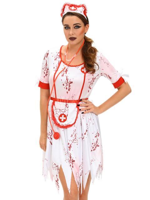 Fantasia de Enfermeira para Halloween com cruz vermelha e branca