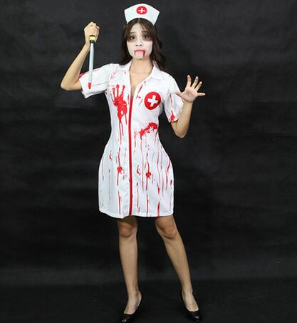 Fantasia de Enfermeira para Halloween com maquiagem sombria