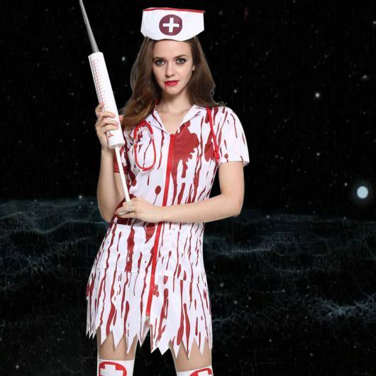 Fantasia de Enfermeira para Halloween com seringa grande