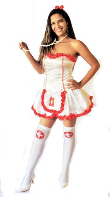 Fantasia de Enfermeira para Carnaval com meia branca