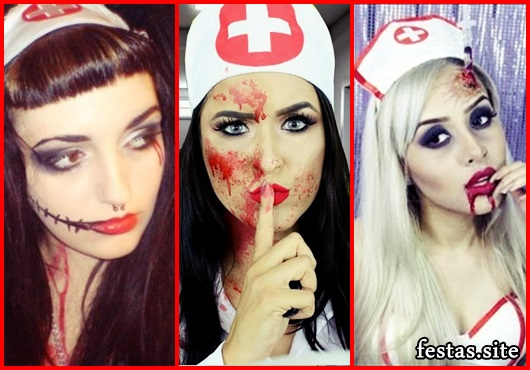 Fantasia de Enfermeira maquiagem improvisada