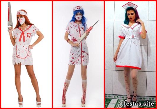 Fantasia de Enfermeira para Halloween modelos com salto