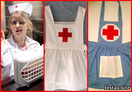 Fantasia de Enfermeira Infantil avental azul com cruz vermelha