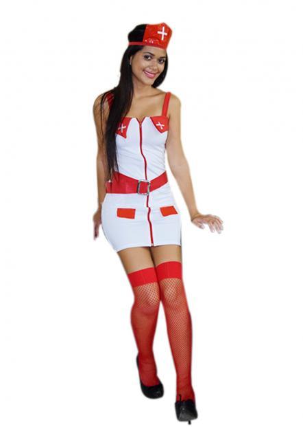 Fantasia de Enfermeira para Carnaval com meia vermelha