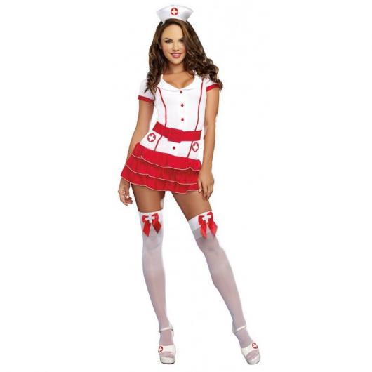 Fantasia de Enfermeira para Carnaval com meia com lacinho vermelho