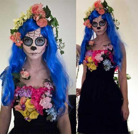 Fantasia Noiva Cadáver improvisada com vestido preto