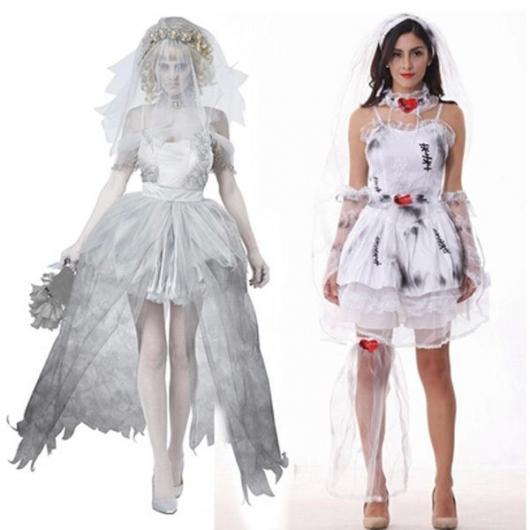 Fantasia Noiva Cadáver vestido curto com manhas pretas
