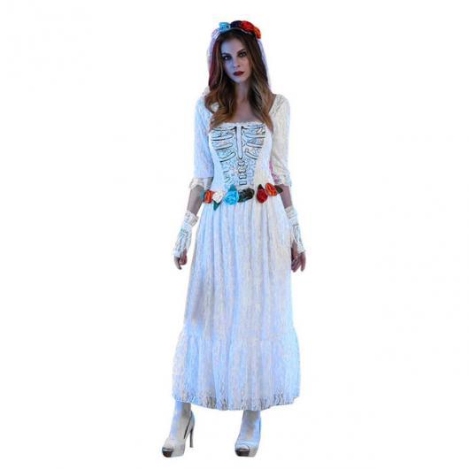 Fantasia Noiva Cadáver com flores na cintura