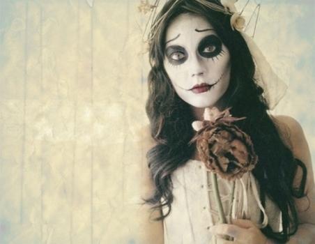 Fantasia Noiva Cadáver com véu curto