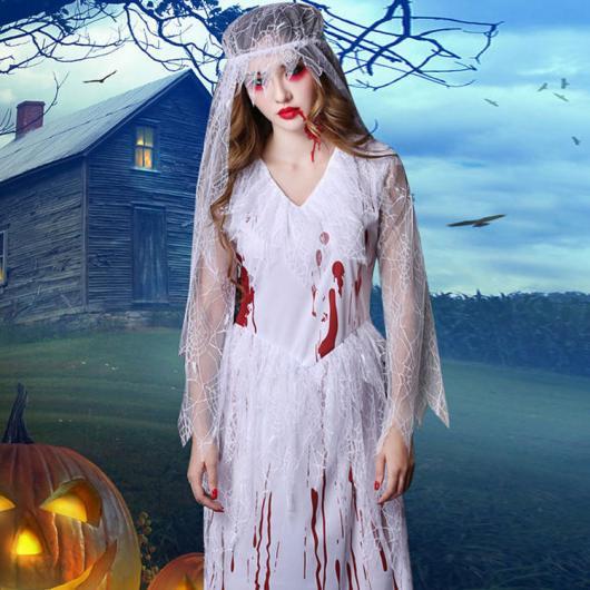 Fantasia Noiva Cadáver com manhas de sangue vermelha