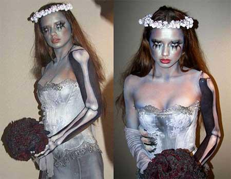 Fantasia Noiva Cadáver improvisada com pintura