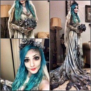 Fantasia Noiva Cadáver com vestido realista