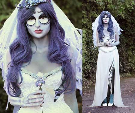 Fantasia Noiva Cadáver vestido com detalhe de rosas no busto