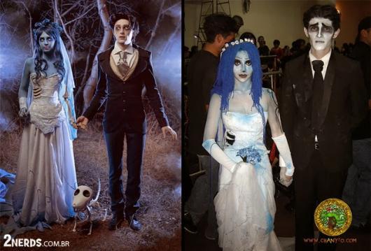 Fantasia Noiva Cadáver com vestido manchado de azul
