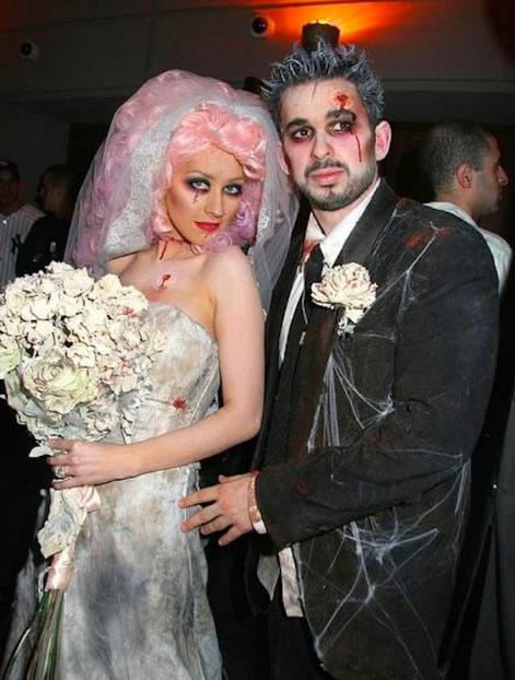 Fantasia Noiva Cadáver com cabelo rosa