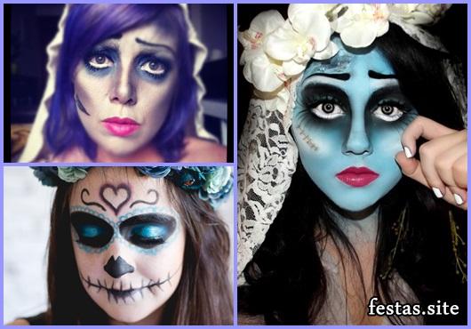 Fantasia Noiva Cadáver maquiagem improvisada