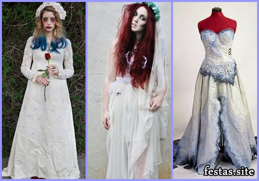 Fantasia Noiva Cadáver vestido com fenda na frente