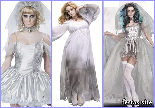 Fantasia Noiva Cadáver vestido com estampa de esqueleto