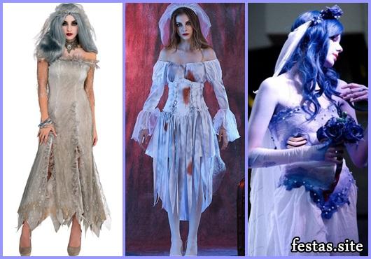 Fantasia Noiva Cadáver vestido encardido