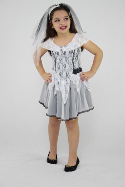 Fantasia Noiva Cadáver infantil vestido preto e branco
