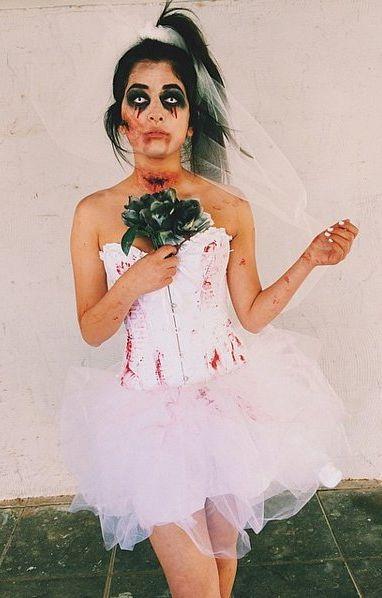Fantasia Noiva Cadáver infantil vestido curto rodado