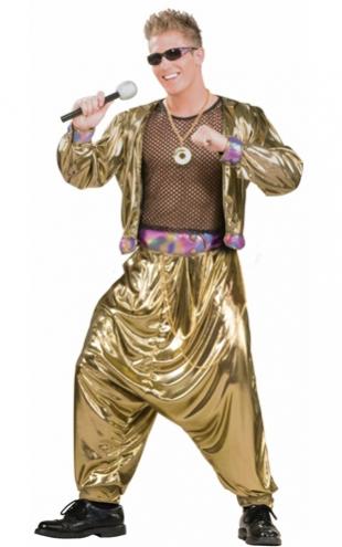 Festa Brega modelo de fantasia dourada com óculos