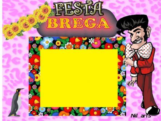 Festa Brega convite cartão rosa com flores e desenho do Zé Bonitinho