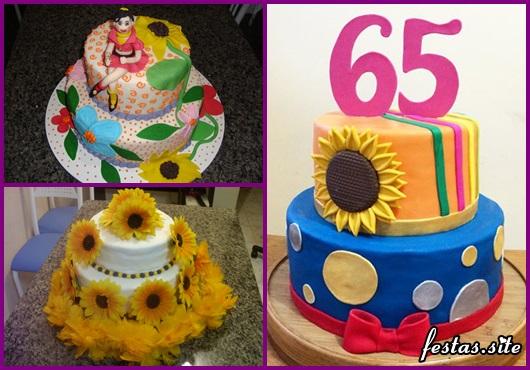 Festa Brega modelo de bolo brega com 2 andares azul e laranja com aplique de girassól