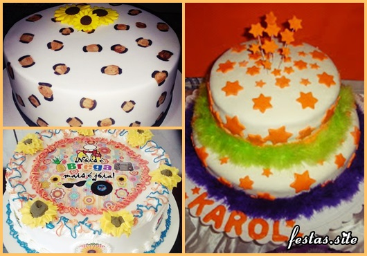Festa Brega modelo de bolo brega com chantilly e papel de arroz