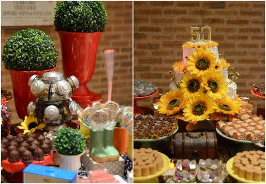 Festa Brega modelo de decoração com bolo fake decorado com girassóis