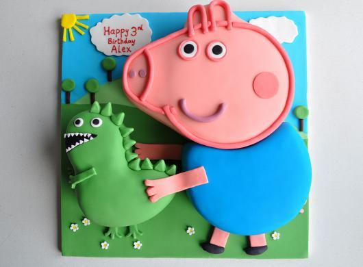 bolo festa George Pig com cenário