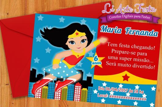 Festa Mulher Maravilha convite cartão com envelope vermelhol