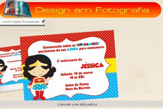 Festa Mulher Maravilha convite baby