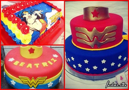 Festa Mulher Maravilha bolo decorado com papel de arroz