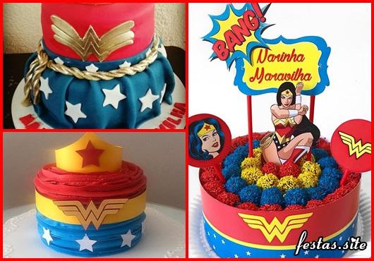 Festa Mulher Maravilha bolo decorado com brigadeiros coloridos e topper
