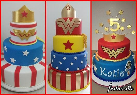Festa Mulher Maravilha bolo com 3 andares