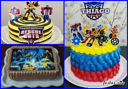 Festa Transformers bolo decorado com chantilly e topper
