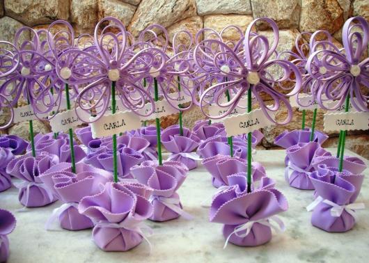 Lembrancinhas de 18 Anos em EVA flor lilás