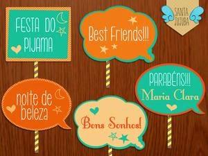 Plaquinhas para Festa do pijama com frase best friends