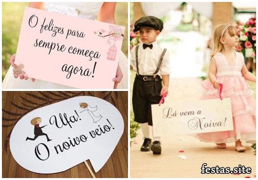 Plaquinhas para Festa de casamento com frase lá vem a noiva