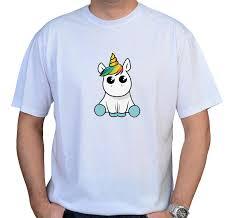 Presentes de Unicórnio camiseta masculina com unicórnio cute