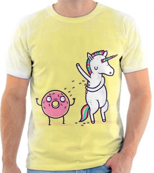 Presentes de Unicórnio camiseta amarela