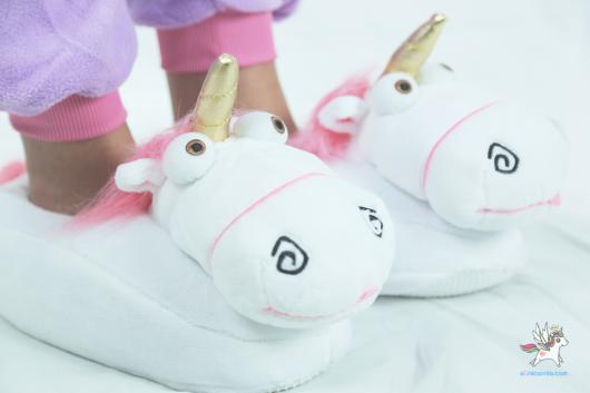 Presentes de Unicórnio pantufa branca e rosa