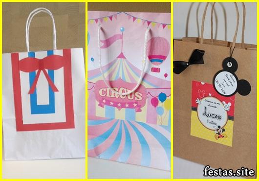 Sacolinha Surpresa de papel modelo Circo rosa