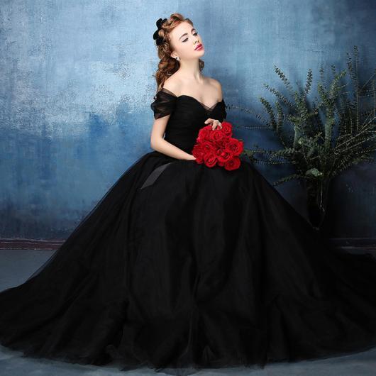 vestido de noiva preto longo bufante