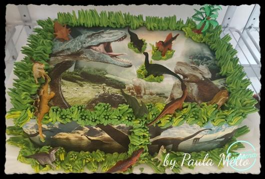 bolo vale dos dinossauros papel de arroz