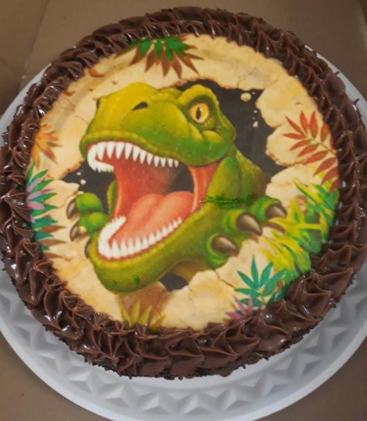 Imagem de tiranossauro rex no papel de arroz