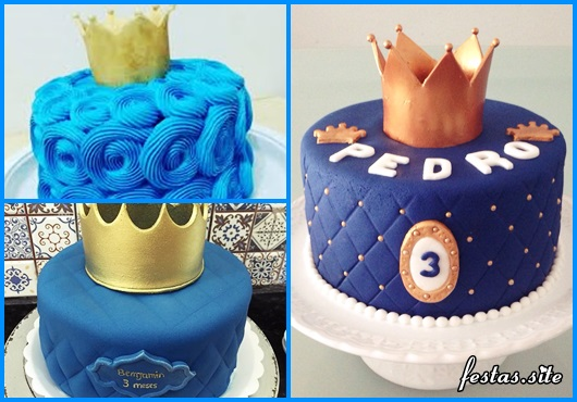 Bolo Mesversário Príncipe com chantilly azul e coroa dourada
