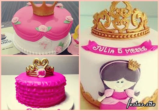 Bolo Mesversário Princesa rosa com coroa dourada