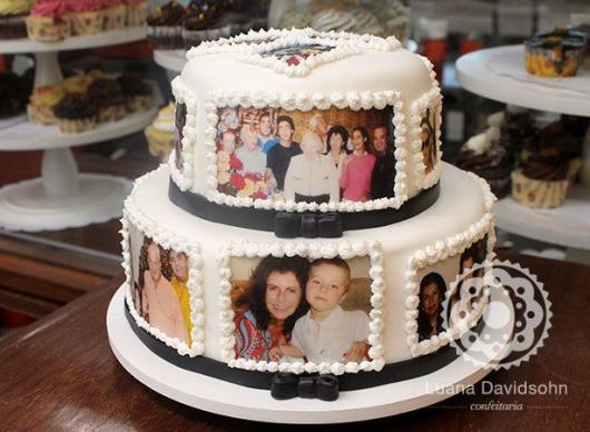 Bolo personalizado com foto para aniversário de casamento